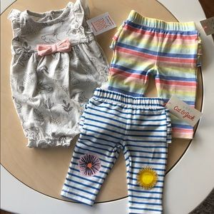 Newborn stripe/flower pants & gray print romper